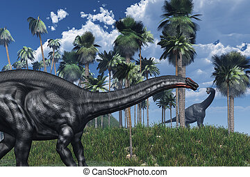 Prehistoric Scene with Dinosaurs - 3D rendered prehistoric...