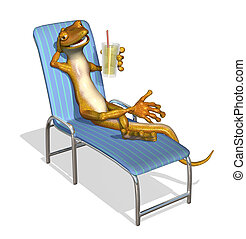 Gecko Relaxing - 3d render of a cartoon gecko relaxing on a...