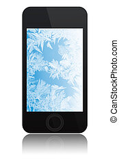 touch screen phone with ice on screen