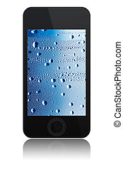phone with water drops on screen