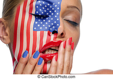 American woman - The woman's face with the image of American...