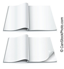 empty pages inside of magazine with wrapped corner vector...