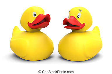 Rubber duck couple isolated on white background 3D rendering