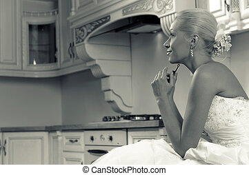 funny bride; stylized image in sepia tone