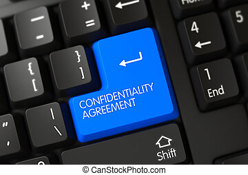 Confidentiality Agreement CloseUp of Blue Keyboard Key. 3d....