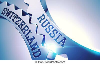Russia Switzerland - Text on Mechanism of Metal Gears. 3D. -...