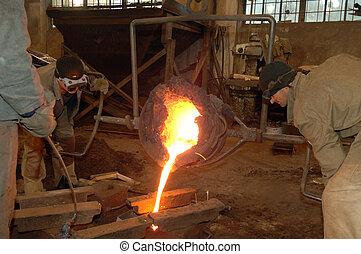 Industrial metallurgy, Molten metal in the vessel