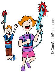 Children Playing Laser Tag - An image of children playing...