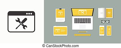 Computer technical support - Vector icon