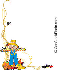 Scarecrow Corner - A scarecrow with crows, pumpkins and...