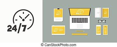 24/7 service - Vector web icon