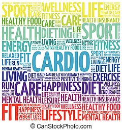 CARDIO word cloud background, health concept