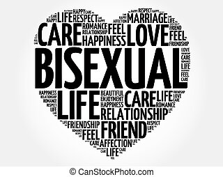 Bisexual word cloud collage, heart concept background