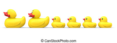 Rubber duck family isolated on white background 3D rendering