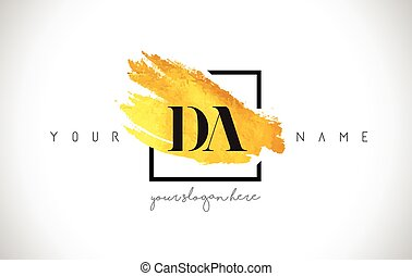 DA Golden Letter Logo Design with Creative Gold Brush Stroke...
