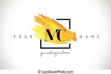 MC Golden Letter Logo Design with Creative Gold Brush Stroke...