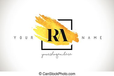 RA Golden Letter Logo Design with Creative Gold Brush Stroke...