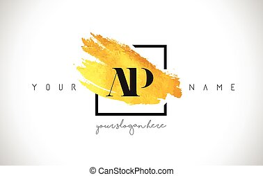 AP Golden Letter Logo Design with Creative Gold Brush Stroke...