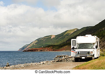 RV at picnic area, Cape Breton Highlands National Park, Nova...