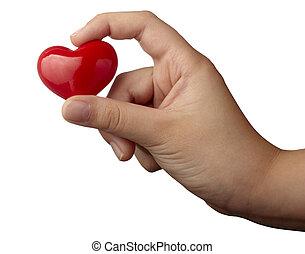 Coração, Amor, mão,  romance, FORMA, segurando