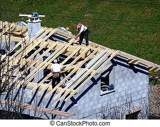 charpentier, bâtiment, toit, maison