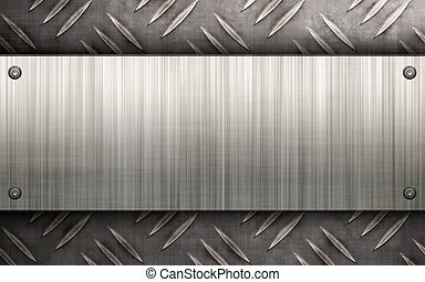 Brushed Metal Layout - Worn diamond plate metal texture with...