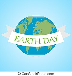 Vector Earth Day background with Earth globe and ribbon.