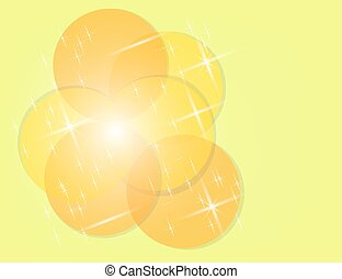 Abstract Colorful Sparkling Stars on Yellow Holiday Background .