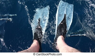 Flippers in water flow on the legs of man, sitting on rear...