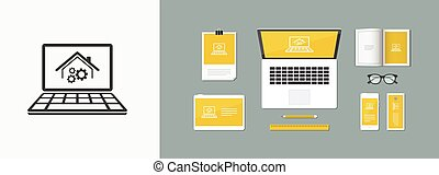 House working system - Vector icon for computer website or...