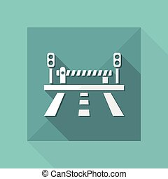 Vector illustration of road and level crossing icon
