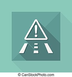 Vector illustration of single isolated danger road icon