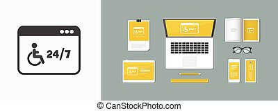 Online handicapped services 24/7 - Vector flat icon