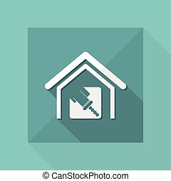 Vector illustration of single house paint icon
