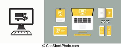 Home delivery - Internet buy - Vector flat icon