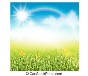 Summer meadow with grass - Vector illustration of summer...