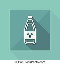 "Vector illustration of modern icon depicting a bottle containing liquid dangerous, with symbol ""radioactive"""