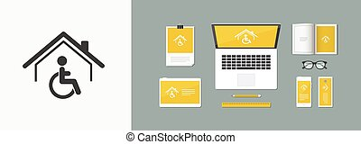 Residential handicap assistance - Vector web icon