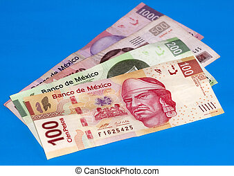 Mexican Peso Bills Over Blue - New 100, 200, 500 and 1000...