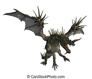 Spiky Dragon Flying 2 - 3d render of a spiky dragon in...