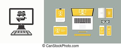 Fast food service online - Vector flat icon
