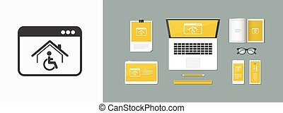 Housing online services for disabled - Vector flat icon