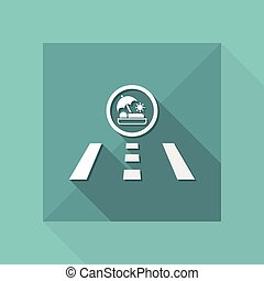 Vector illustration of single isolated road icon - Holiday direction