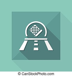 Vector illustration of single isolated car race icon
