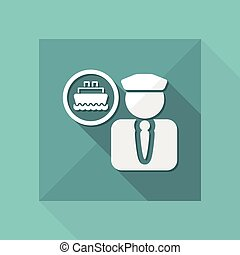 Vector illustration of single isolated boat capitan icon