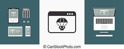 Emergency save by computer crash - Vector flat icon