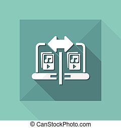 Vector illustration of single isolated music share icon