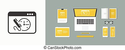 Call us for appointment - website button - Vector flat icon