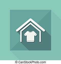 Vector illustration of modern single icon depicting a house with the symbol clothing