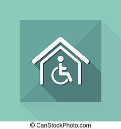 Vector illustration of single isolated handicap home icon